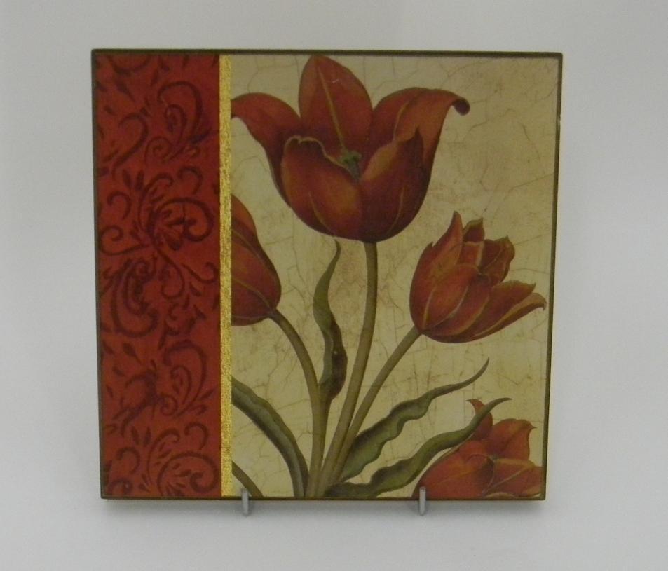Картина без рамки «Тюльпан с декором слева» 20*20 (Alessandro Zucconi)