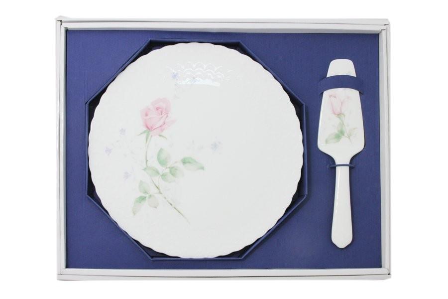 Набор для торта: блюдо + лопатка Апрельская роза (Narumi)