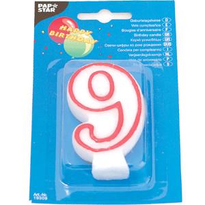 Свеча-цифра 9, ко дню рождения (Pap Star)