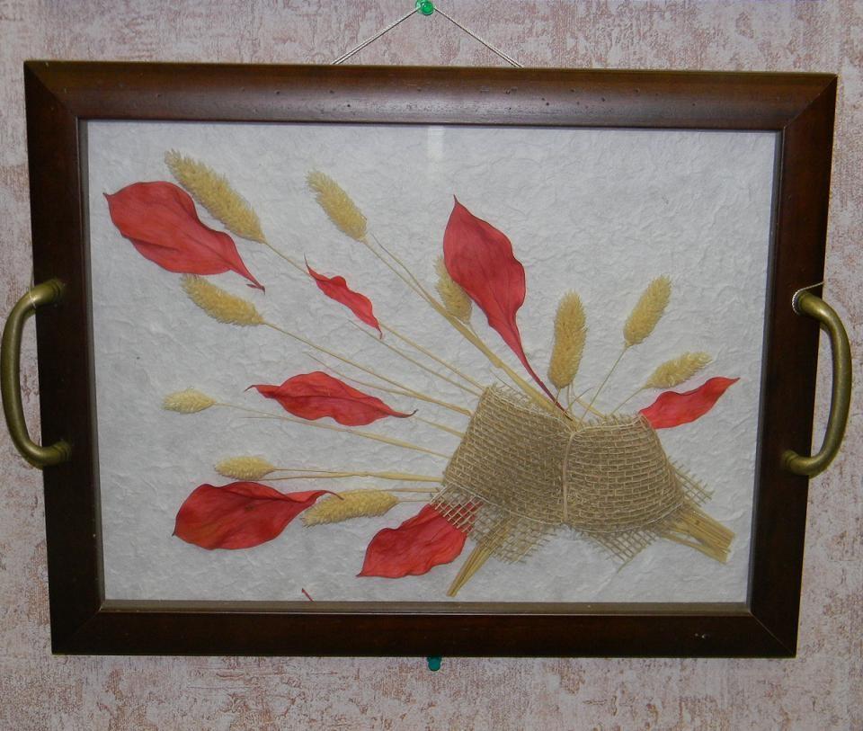 2 в 1: Поднос с цветами 30х40,красный лист-настенное украшение (Alessandro Zucconi)