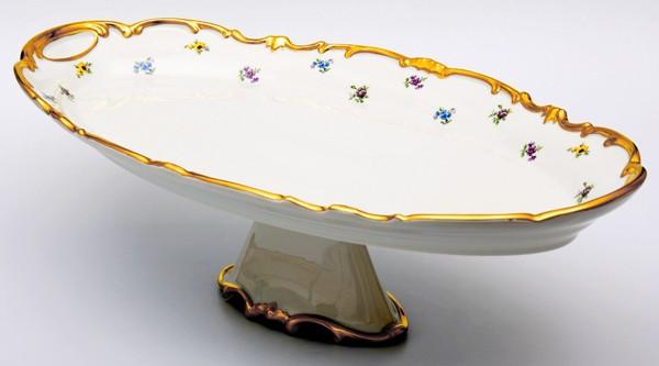 Блюдо овальное 50 см на ножке. «Мейсенский цветок» (Weimar Porzellan)