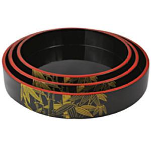 Блюдо-барабан для суши пластик; D=21,H=5см; черный,желт. (West Honest)