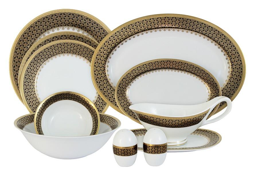 Обеденный сервиз Чёрное золото 27 предметов на 6 персон (Midori)