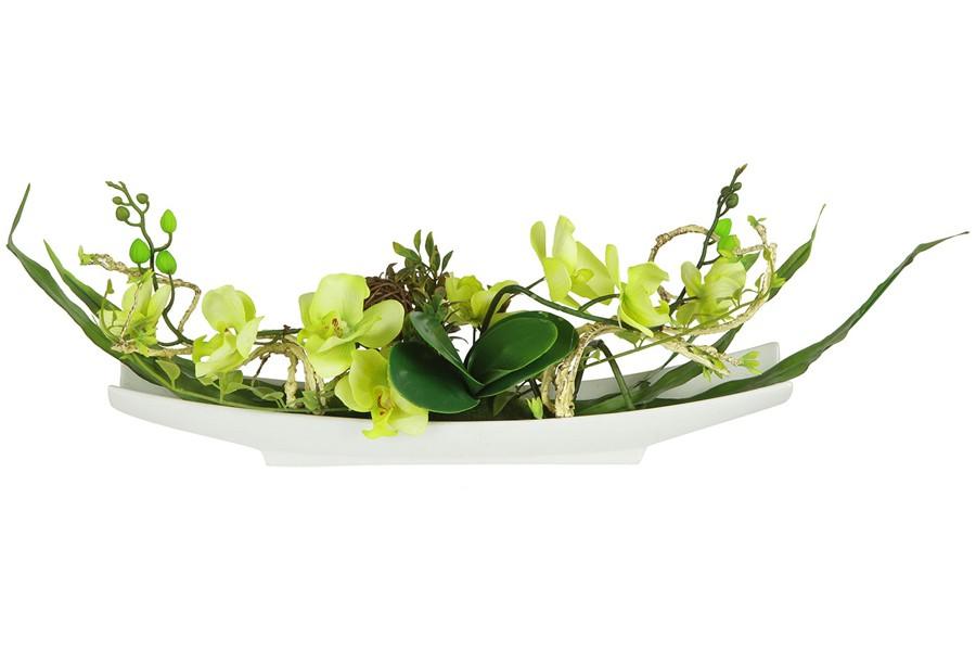 Декоративные цветы Орхидея желтая на керамической подставке (Dream Garden)