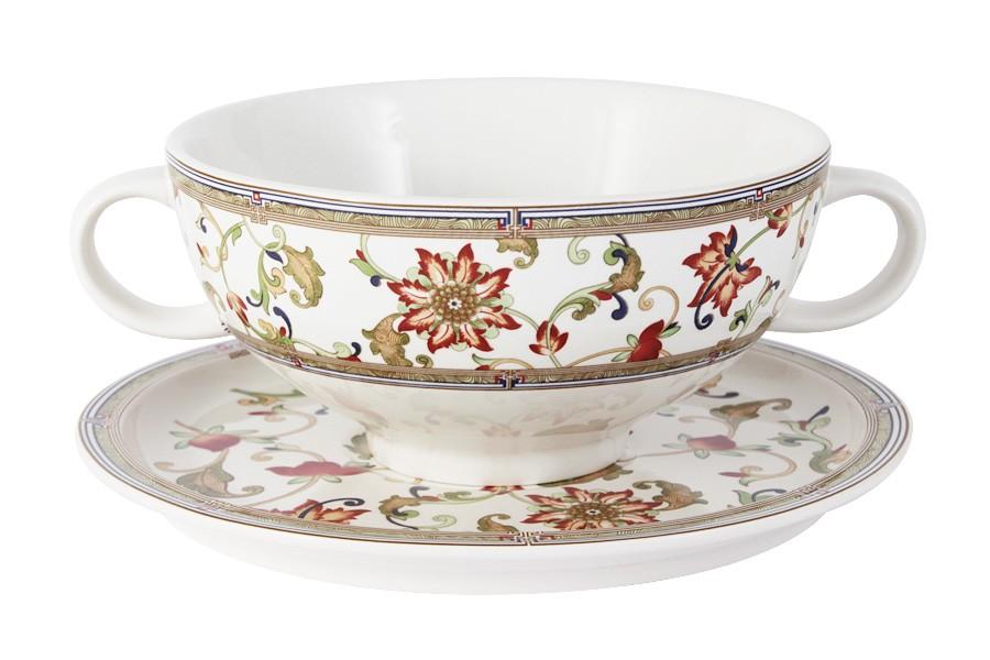 Суповая чашка на блюдце Кардинал (Imari)
