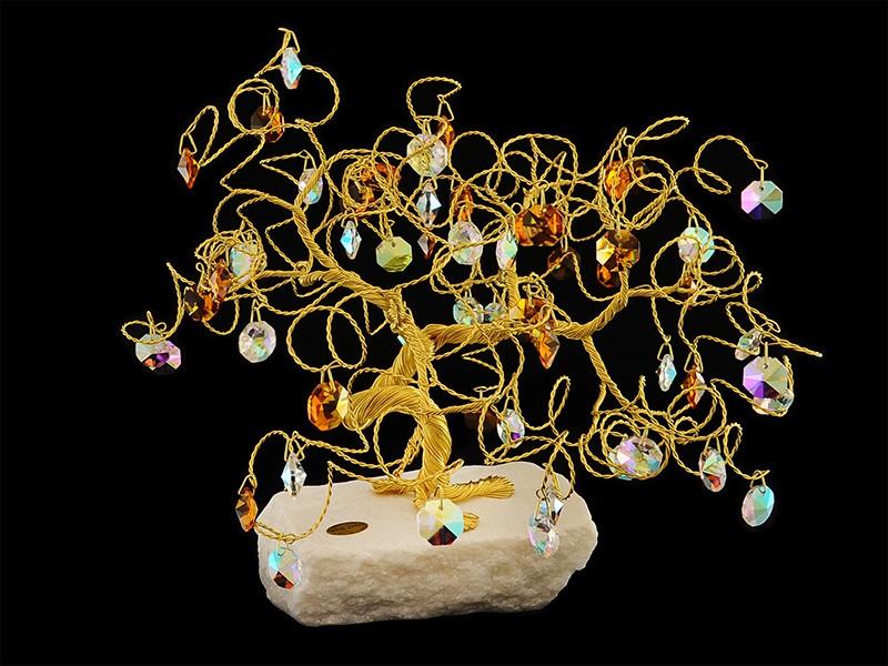 Сувенир в форме дерева, 60 подвесок, высота 25 см. (Tomas Glass)