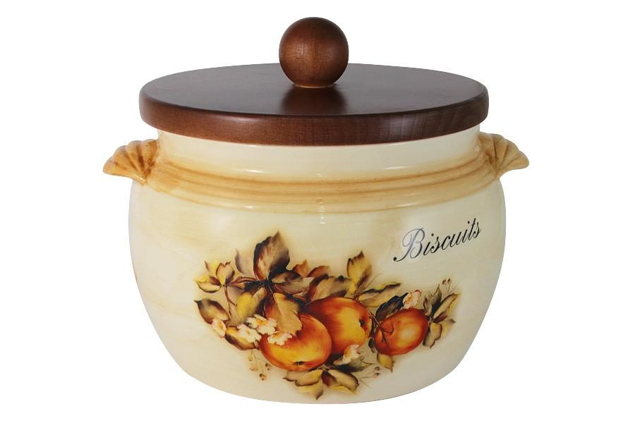 Банка для сыпучих продуктов с деревянной крышкой (большая) Зимние яблоки (LCS)