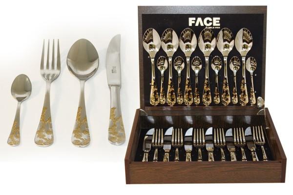 Набор столовых приборов 24 предмета на 6 персон «Ankara» в деревянной коробке. (Face)