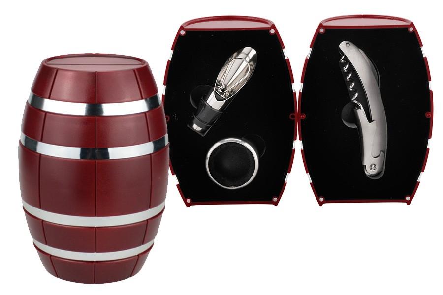 Винный набор 3 пр. Бочонок красный. (Wine Tools)