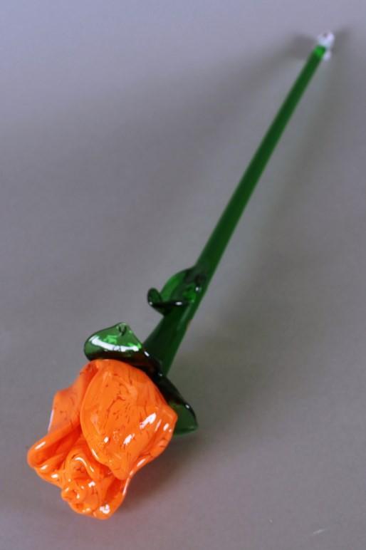 Цветок стекл. роза оранж (Egermann)