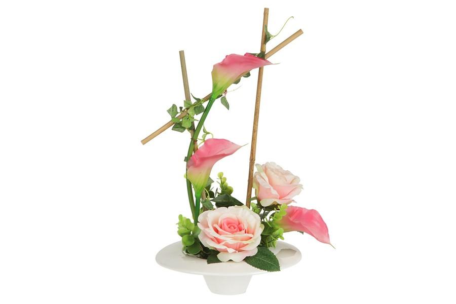 Декоративные цветы Розы и каллы розовыена керамической подставке (Dream Garden)