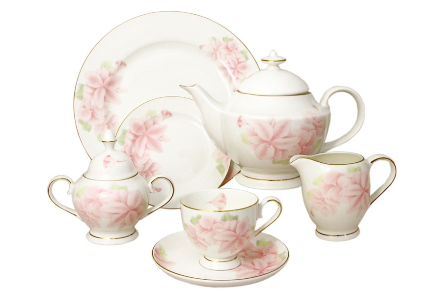 Чайный сервиз Розовые цветы 40 предметов на 12 персон (Emerald)