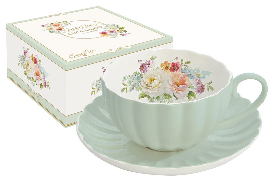 Чашка с блюдцем Королевский сад (зеленая) (R2S)