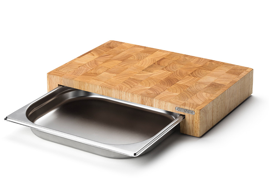 Блок мясника с металлической вставкой-подносом Continenta 39 x 27 x 6 см (Continenta)