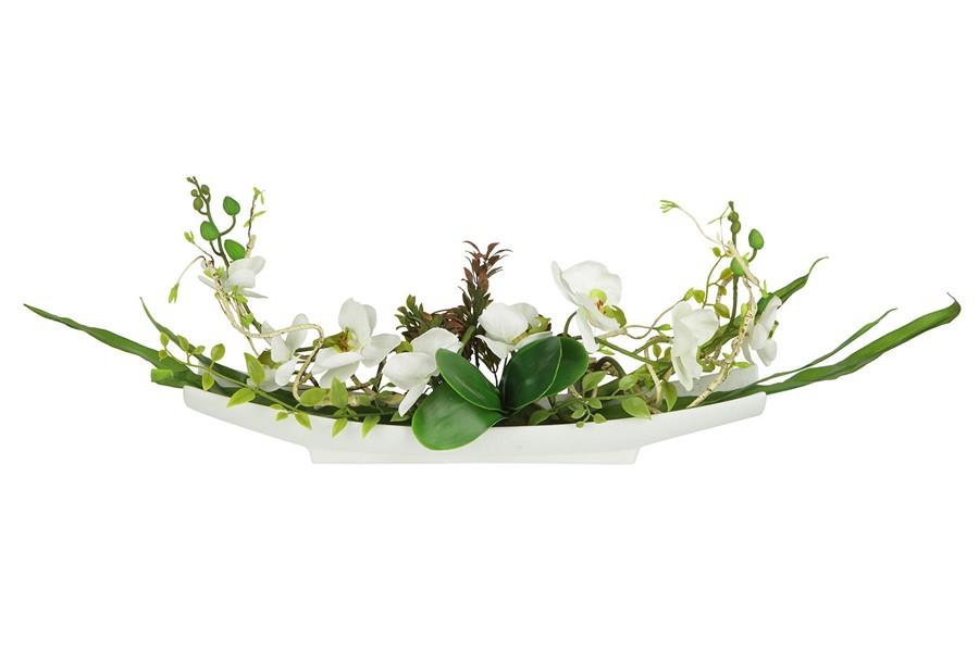 Декоративные цветы Орхидея белая на керамической подставке (Dream Garden)