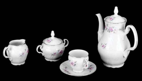 Сервиз кофейный на 6 перс. 15 пред «Роза серая платина 5396021» (Thun 1794 A.S.)