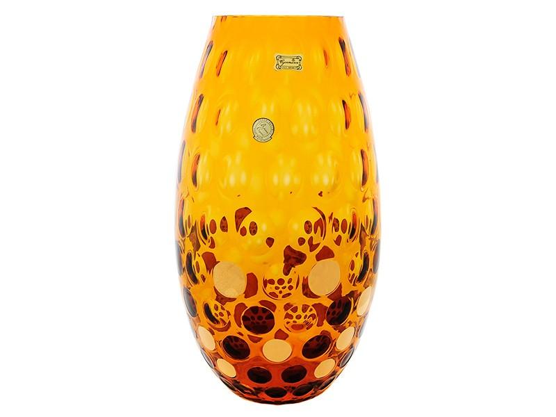 Ваза 25,5 см амбер «горох золотой» (Egermann)