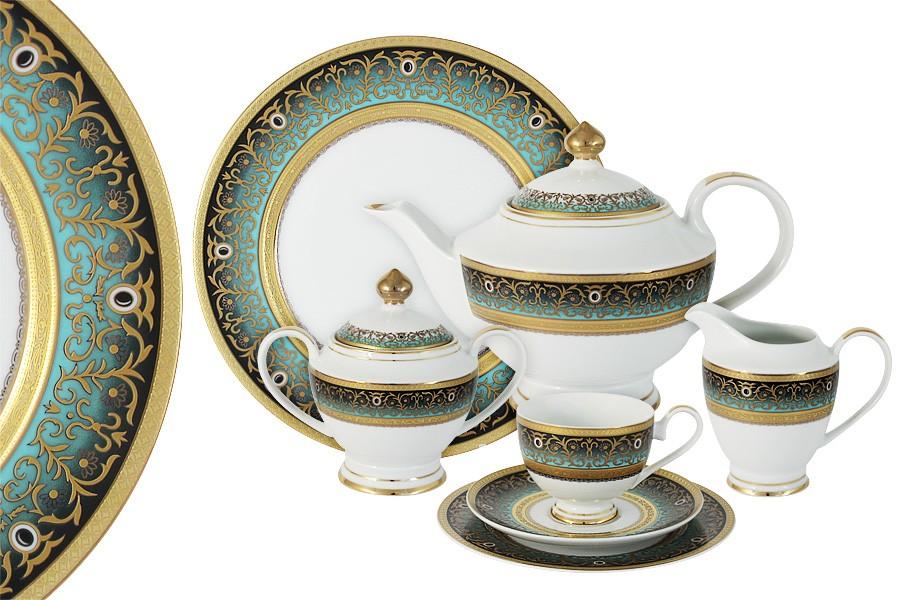 Чайный сервиз 42 предмета на 12 персон Принц (бирюза) (Shibata)
