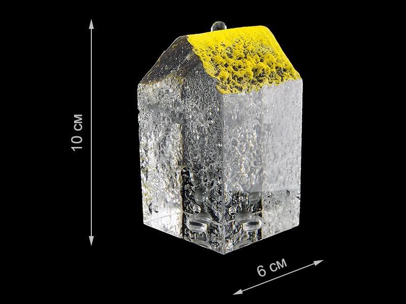 Скульптура для интерьера дом высокий с желтой крышей 10х6см (Remisglass)