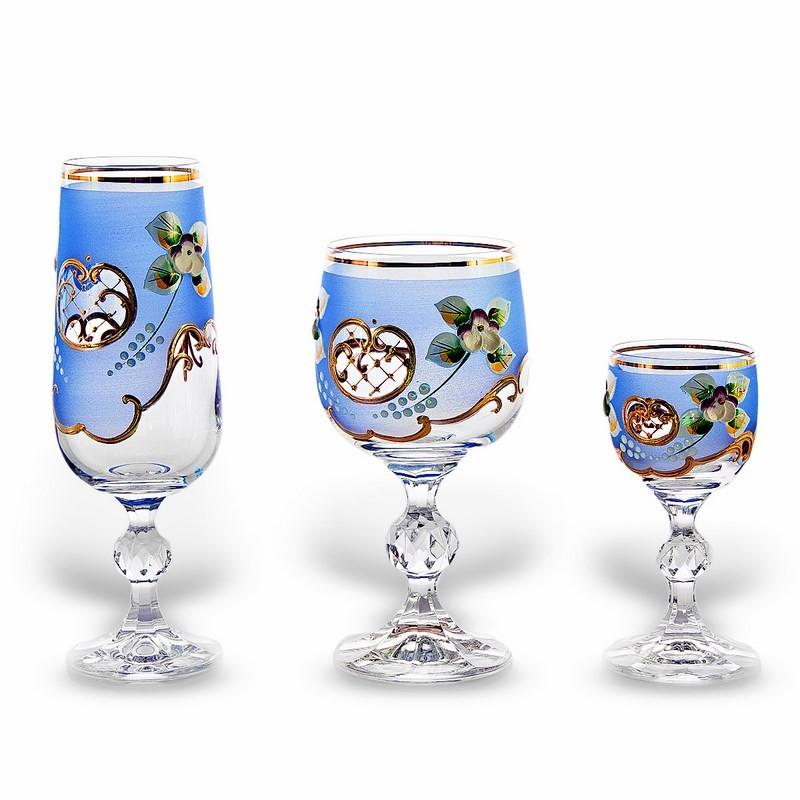 Набор бокалов 18 шт. «Лепка синяя» (60,180,190 мл. ) (Union Glass)