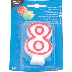 Свеча-цифра 8, ко дню рождения (Pap Star)