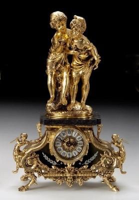 Часы «дети с ракушкой» на мраморе 55х31см (Virtus 1945)