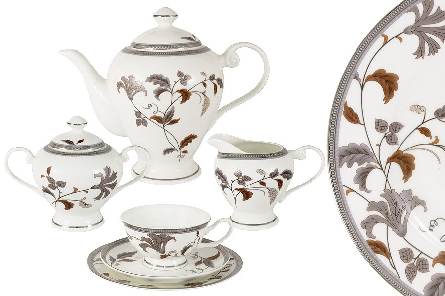 Чайный сервиз Серебряный лист 21 предмет на 6 персон (Emerald)