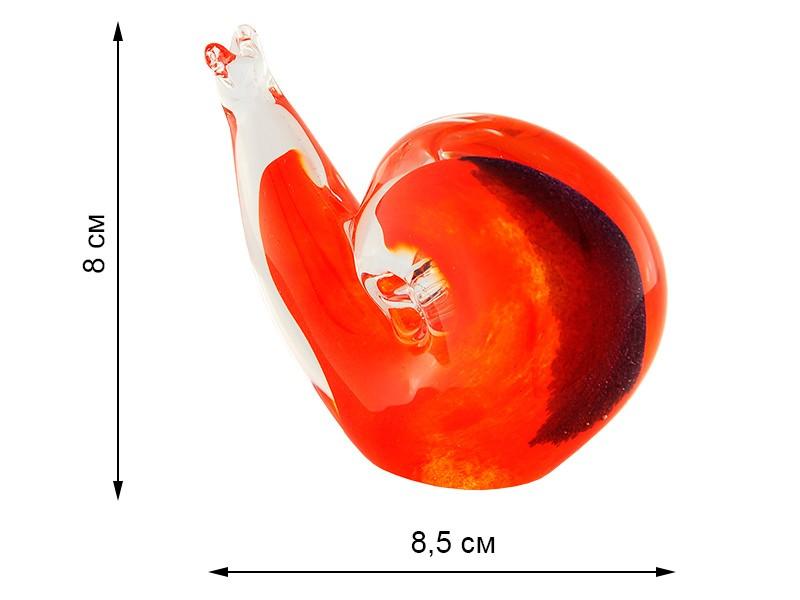 Скульптура для интерьера улитка красная 8х8,5см (Remisglass)